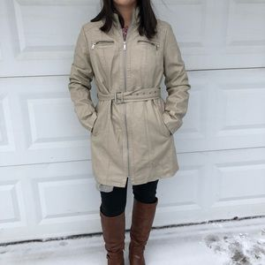 Kenneth Cole Faux Leather Trench Coat